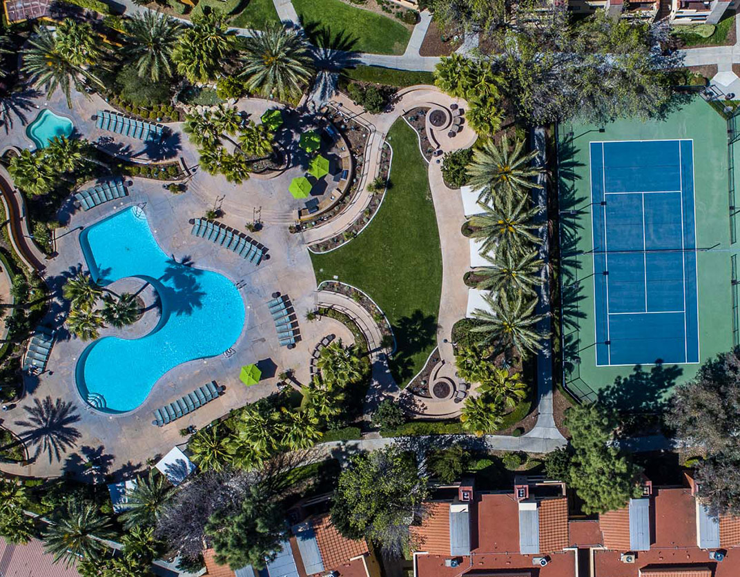 Malibu Canyon - Calabasas, CA - Aerial View, Pool and Courts